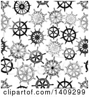Clipart Of A Seamless Background Pattern Of Black And White Helms Royalty Free Vector Illustration by Vector Tradition SM
