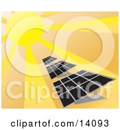 Sunlight Shining On Solar Energy Panels Clipart Illustration
