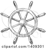 Clipart Of A Black And White Sketched Ship Steering Helm Royalty Free Vector Illustration by Vector Tradition SM