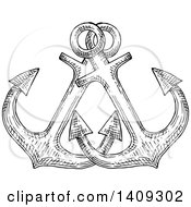 Clipart Of Black And White Sketched Crossed Anchors Royalty Free Vector Illustration