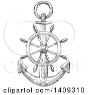 Clipart Of A Black And White Sketched Anchor Royalty Free Vector Illustration