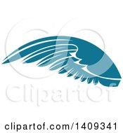 Clipart Of A Teal Feathered Bird Or Angel Wing Royalty Free Vector Illustration