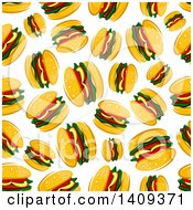 Clipart Of A Seamless Background Pattern Of Burgers Royalty Free Vector Illustration