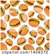 Clipart Of A Seamless Background Pattern Of Burgers Royalty Free Vector Illustration by Vector Tradition SM