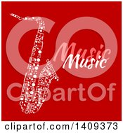 Clipart Of A Saxophone Formed Of White Music Notes With Text On Red Royalty Free Vector Illustration by Vector Tradition SM