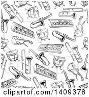 Clipart Of A Seamless Background Pattern Of Black And White Musical Instruments Royalty Free Vector Illustration by Vector Tradition SM