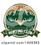 Clipart Of A Deer Antler Rack And Mountain Hunting Design Royalty Free Vector Illustration