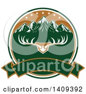 Clipart Of A Deer Antler Rack And Mountain Hunting Design Royalty Free Vector Illustration by Seamartini Graphics