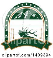 Clipart Of A Mountain And Elk Hunting Design Royalty Free Vector Illustration by Vector Tradition SM