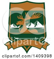 Clipart Of A Rocky Mountain Elk Hunting Design Royalty Free Vector Illustration by Vector Tradition SM