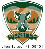 Clipart Of A Boar Hunting Design Royalty Free Vector Illustration