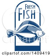 Clipart Of A Flounder Fish Seafood Design Royalty Free Vector Illustration