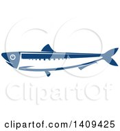 Clipart Of A Blue Anchovy Seafood Design Royalty Free Vector Illustration