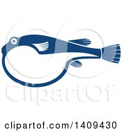 Clipart Of A Blue Puffer Fish Seafood Design Royalty Free Vector Illustration