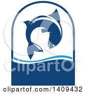 Clipart Of A Leaping Fish Seafood Design Royalty Free Vector Illustration