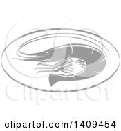 Clipart Of A Grayscale Shrimp Seafood Design Royalty Free Vector Illustration by Vector Tradition SM