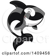 Clipart Of A Cartoon Killer Whale Orca Mascot Jumping Royalty Free Vector Illustration by Vector Tradition SM