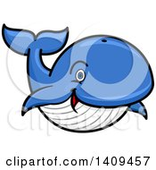 Clipart Of A Cartoon Happy Blue Whale Mascot Royalty Free Vector Illustration by Vector Tradition SM