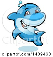 Clipart Of A Cartoon Happy Blue Dolphin Royalty Free Vector Illustration by Vector Tradition SM