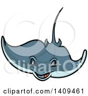 Clipart Of A Cartoon Happy Stingray Royalty Free Vector Illustration