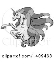 Clipart Of A Grayscale Rearing Unicorn With A Long Mane Royalty Free Vector Illustration by Vector Tradition SM
