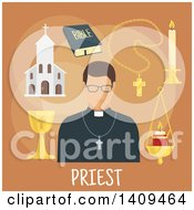 Clipart Of A Flat Design Priest With Icons On Brown Royalty Free Vector Illustration