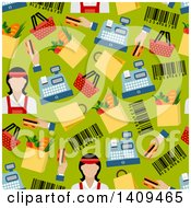 Clipart Of A Seamless Background Pattern Of A Cashier And Items Royalty Free Vector Illustration