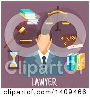 Clipart Of A Flat Design Lawyer With Icons On Purple Royalty Free Vector Illustration by Vector Tradition SM