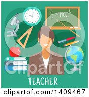 Clipart Of A Flat Design Female Teacher With Icons On Green Royalty Free Vector Illustration by Vector Tradition SM