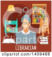 Clipart Of A Flat Design Librarian With Icons On Brown Royalty Free Vector Illustration by Seamartini Graphics
