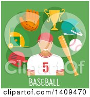Clipart Of A Flat Design Baseball Player With Icons On Green Royalty Free Vector Illustration by Vector Tradition SM