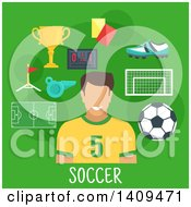 Clipart Of A Flat Design Soccer Player With Icons On Green Royalty Free Vector Illustration by Vector Tradition SM