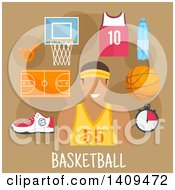 Clipart Of A Flat Design Basketball Player With Icons On Brown Royalty Free Vector Illustration