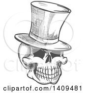 Clipart Of A Sketched Gray Skull Wearing A Top Hat Royalty Free Vector Illustration