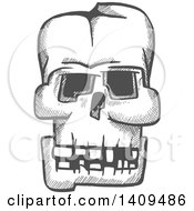 Clipart Of A Sketched Gray Monster Skull Royalty Free Vector Illustration