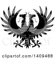 Clipart Of A Black And White Double Headed Eagle Royalty Free Vector Illustration