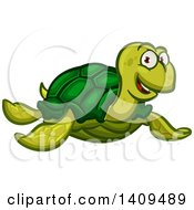 Clipart Of A Cartoon Happy Green Sea Turtle Royalty Free Vector Illustration