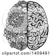 Clipart Of A Grayscale Half Human Half Data Processing Center Brain Royalty Free Vector Illustration by Vector Tradition SM