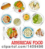 Clipart Of A Sketched Layout Of American Foods Royalty Free Vector Illustration