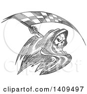 Clipart Of A Grayscale Sketched Grim Reaper With A Racing Flag Scythe Royalty Free Vector Illustration