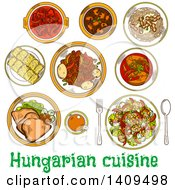 Clipart Of A Setting Of Sketched Hungarian Cuisine Royalty Free Vector Illustration