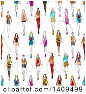 Clipart Of A Seamless Background Pattern Of Fashion Models Royalty Free Vector Illustration
