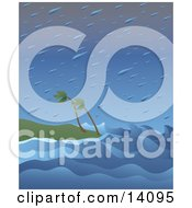 Huge Raindrops Falling Over Wind Blown Palm Trees And Giant Waves On A Beach During A Tropical Storm Natural Hazard Clipart Illustration