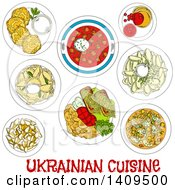 Clipart Of A Setting Of Sketched Ukrainian Cuisine Royalty Free Vector Illustration by Vector Tradition SM