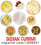 Clipart Of A Setting Of Sketched Indian Cuisine Royalty Free Vector Illustration by Vector Tradition SM