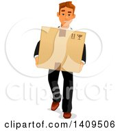 Clipart Of A Caucasian Business Man Carrying A Box Royalty Free Vector Illustration by Vector Tradition SM