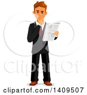 Clipart Of A Caucasian Business Man Reading A Newspaper And Thinking Royalty Free Vector Illustration by Vector Tradition SM