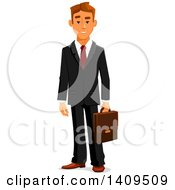 Clipart Of A Caucasian Business Man Holding A Briefcase Royalty Free Vector Illustration