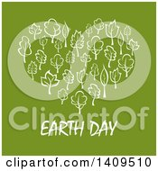 Clipart Of A Heart Formed Of White Leaves Or Trees With Earth Day Text On Green Royalty Free Vector Illustration