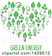 Clipart Of A Heart Formed Of Green Energy Light Bulbs With Text Royalty Free Vector Illustration by Vector Tradition SM